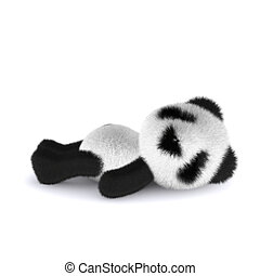 3d Panda bear relaxes on his back - 3d render of a panda...