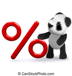 3d Panda bear with a percentage symbol - 3d render of a...