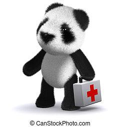 3d Panda bear brings first aid - 3d render of a panda bear...