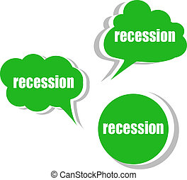 recession. Set of stickers, labels, tags. Template for infographics