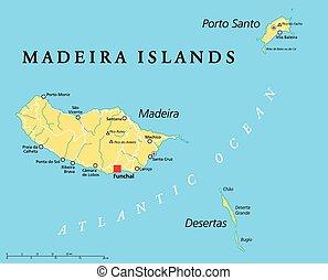 Madeira Islands Political Map with Madeira, Porto Santo and...