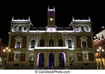 Valladolid - 01 - The illuminated City Hall of Valladolid at...
