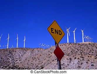 Windmills and traffic sign