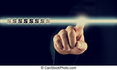 Hand Pointing Glowing Light with Dollar Signs - Human Hand...