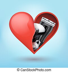 Metal engine inside a red heart - Concept of Metal engine...