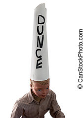 Boy wearing dunce cap - Boy mannequin wearing dunce cap...