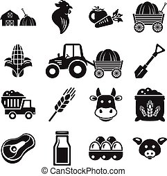 Stock vector pictogram farm black icon set