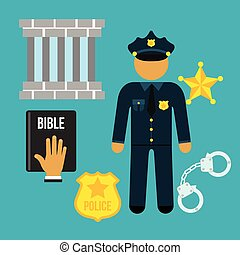 Vector crime and police man social flat icons set