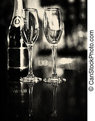 Abstract Champagne flutes - A shot of Champagne and...