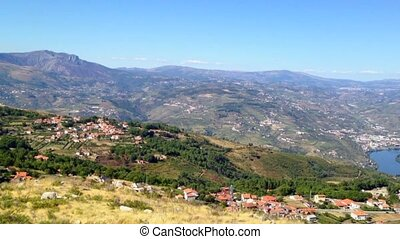 Douro landscape - Pan move from left to right of terraced...