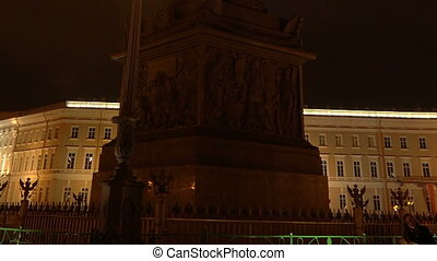 Alexander column on Palace square. Night.