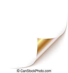 Curled Corner - Curled White Paper Corner with Gold Back...