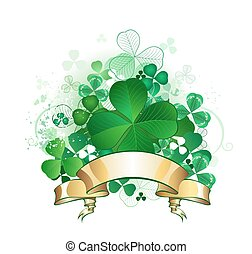 clover with banner - green clover with four leaves, with a...