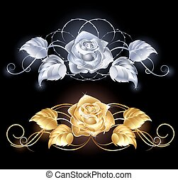 Gold and silver rose - two shiny, gold rose, gold and silver...