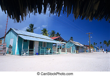 Colored houses - Saona island village - Dominican republic -...