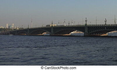 Divorce Trinity Bridge in St. Petersburg in the afternoon. Day.