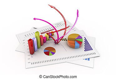 analysis - Graphics isolated 3d financial analysis