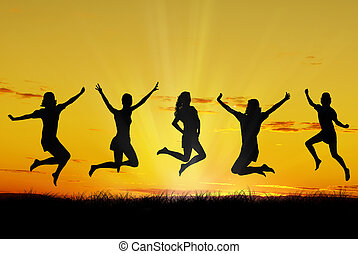 Happy young friends - Group of friends jumping with joy at...