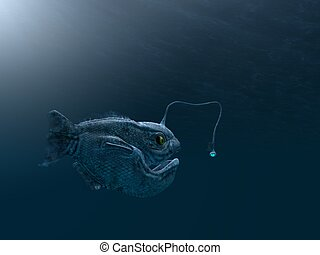 ancient angler fish - computer made illustration of an...