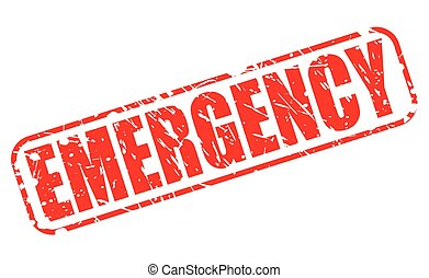 Emergency red stamp text on white