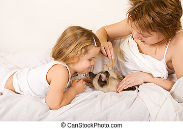Little girl and woman playing with a kitten