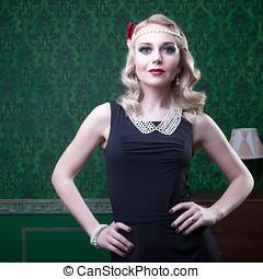 Fashion woman in retro green room
