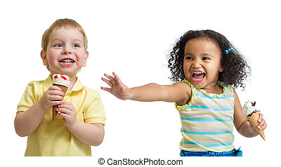 Happy kids boy and girl eating ice cream isolated - Happy...