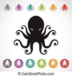Vector image of an octopus on white background.