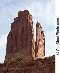 Precarious - Thin rock formation fin in the US Southwest...