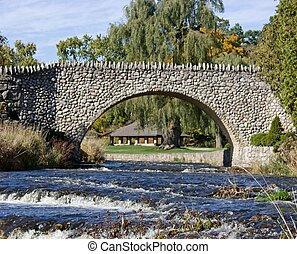 Bridge - Cobblestone bridge at Websters Falls just outside...