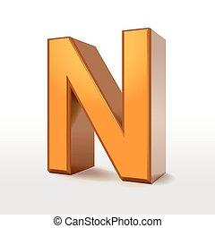 golden 3d alphabet N isolated on white