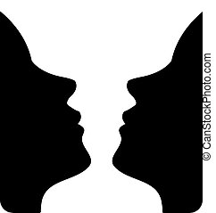 Faces or vase- illusion of faces - Faces or vase- illusion...