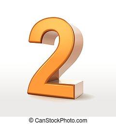golden 3d number 2