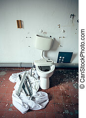 destroyed toilet - An white old ruined toilet with filth
