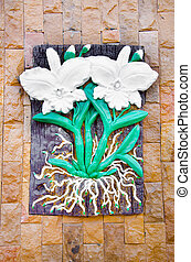 Low relief cement flower - Low relief cement flower Thai...