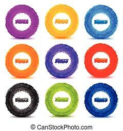 Set of 9 Hand drawn colorful watercolor circles, vector...