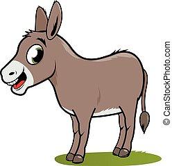 Cartoon donkey on white background.