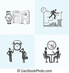 Time management composition sketch icons set with business...