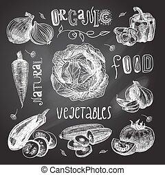 Vegetables sketch set chalkboard - Vegetable natural organic...