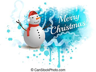 Christmas background with snowman - Blue Christmas spash...