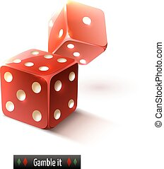 Realistic dice isolated - Game gamble casino dice set...