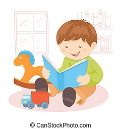 Boy reading book indoors with toys and bookshelf on...