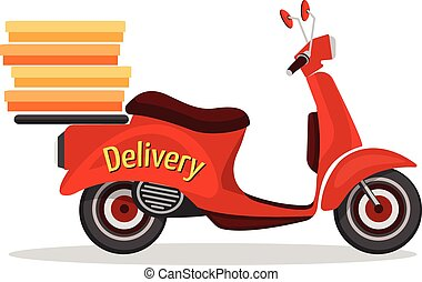 Scooter delivery poster - Retro scooter fast delivery...
