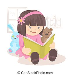 Girl reading book in her room with toys on background poster...