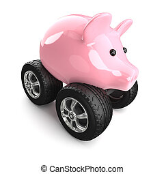 3d Piggy bank on wheels - 3d render of a piggy bank on...