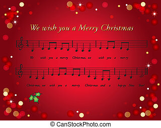 christmas card - illustration of christmas card with a song