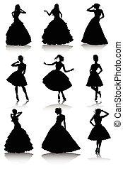 Set of various beautiful model girls in dress