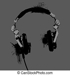 Headphones stencil vector - Headphones stencil Grayscale...