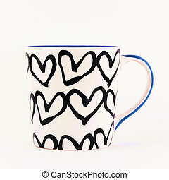 Heart pattern on mug isolated on white background