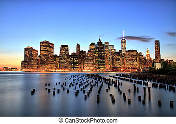 New York City Manhattan Downtown at dusk